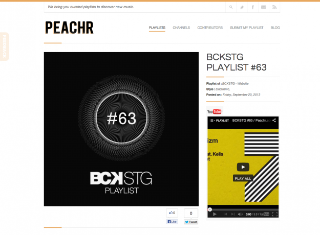 La BCKSTG playlist #63 sur PEACHR